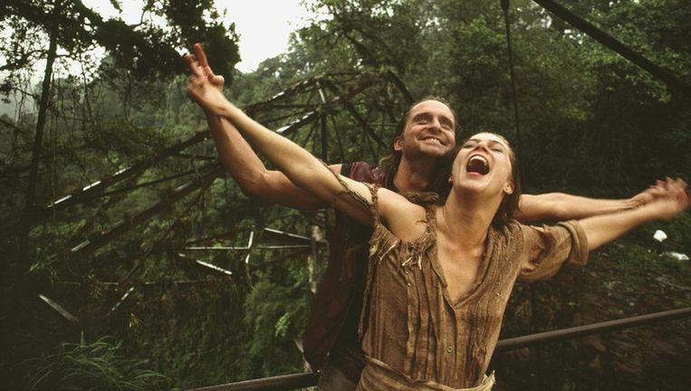 Michael Douglas en Kathleen Turner in Romancing the Stone Beeld .