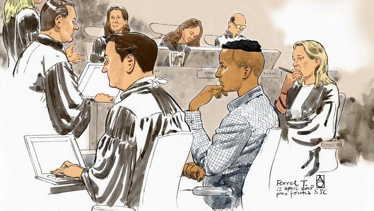 Ferrel T. op een rechtbanktekening, hier in het midden. Beeld anp