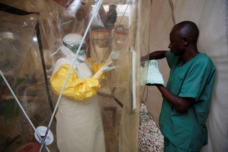 Een Ebola-behandelcentrum in Beni. Beeld REUTERS