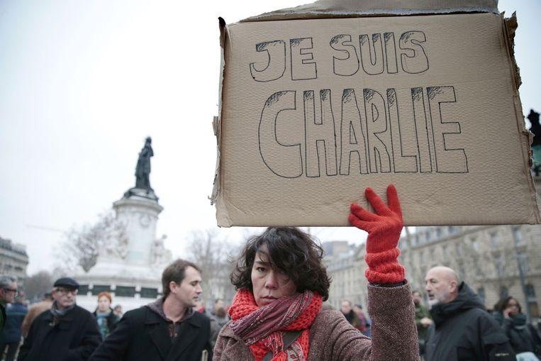 Demonstranten bij Place de la Republique in Parijs. Beeld afp
