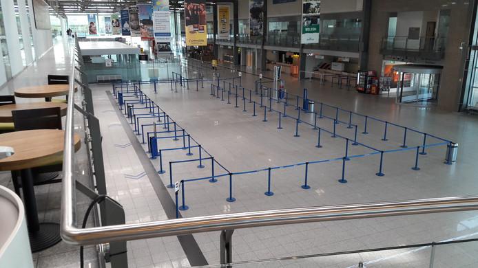 Een lege vertrekhal Weeze tijdens de staking van Ryanair-piloten op 10 augustus.