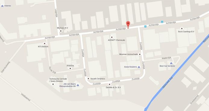 De locatie van Addapt Chemicals en omliggende bedrijven in Helmond.