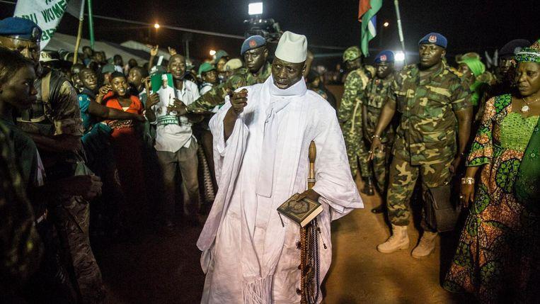 President Yahya Jammeh (op de foto) voorkomen dat donderdag de inauguratie plaatsvindt van Adama Barrow. Beeld afp