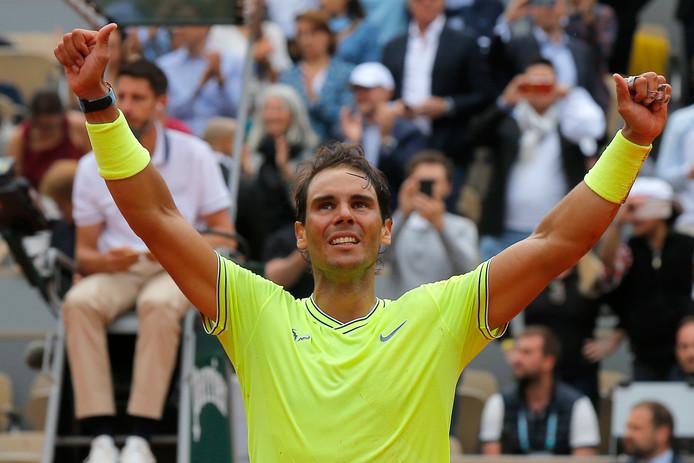 Nadal na het winnen van Roland Garros 2019.