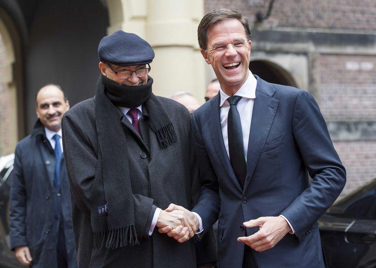 Premier Rutte ontvangt premier Habib Essid van Tunesië op het Binnenhof. Beeld epa