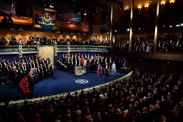De laatste gala-uitreiking van de Nobelprijzen in aanwezigheid van het Zweedse koninklijk paar, afgelopen december in Stockholm.  Beeld Getty
