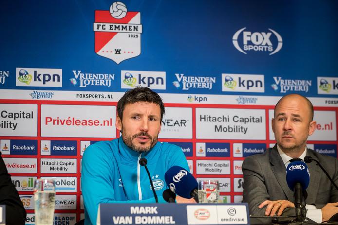PSV-trainer Mark van Bommel na het duel met FC Emmen.