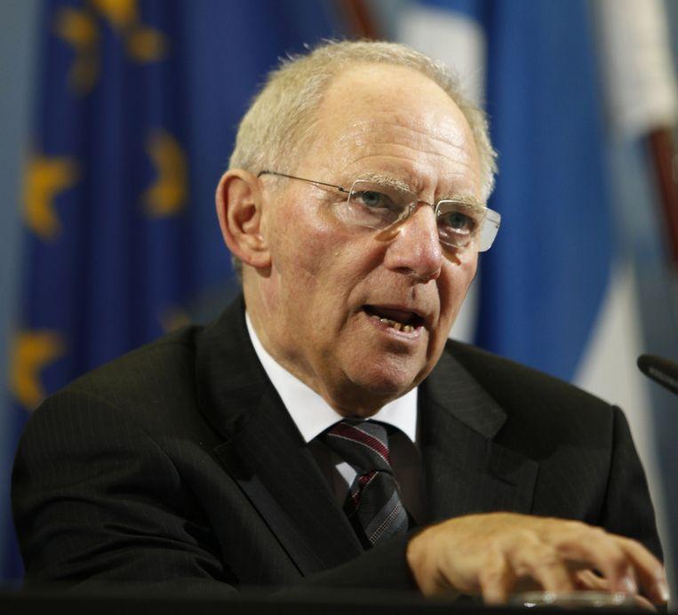 Wolfgang Schäuble, vandaag tijdens de persconferentie in Berlijn. Beeld null