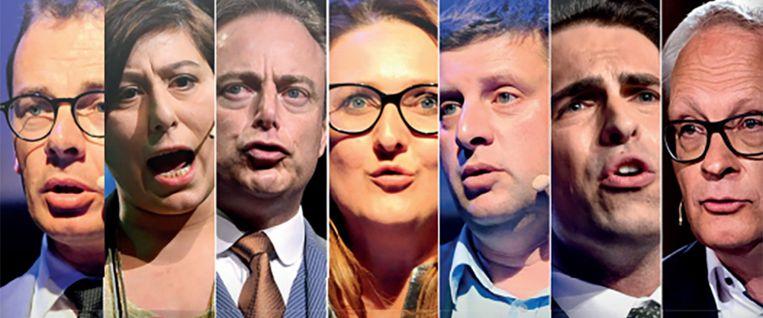 De zeven Vlaamse partijvoorzitters.