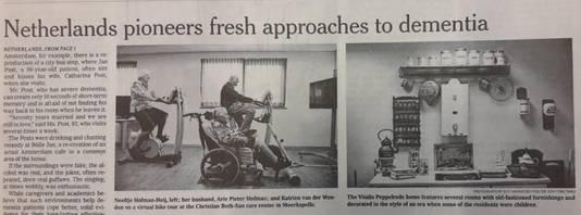 Deel van het artikel uit de New York Times over zorg voor dementerenden in Peppelrode.