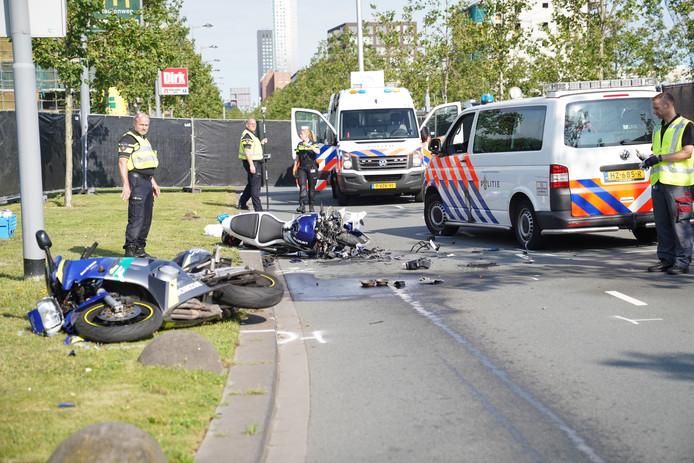 Bij het ongeval op de Laan op Zuid in Rotterdam-Zuid kwam een 25-jarige motorrijder om het leven.