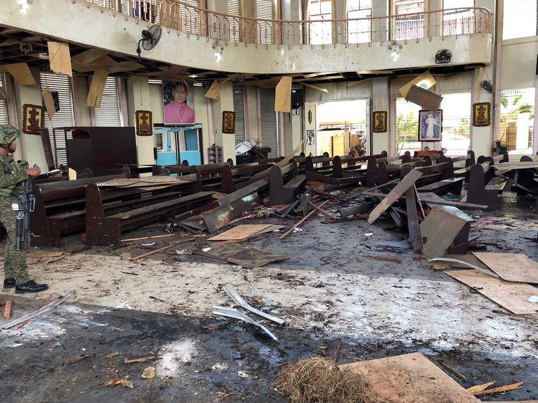 De kathedraal waar de explosies plaatsvonden in Jolo.