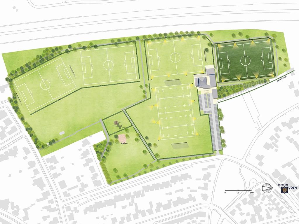 Zo zou het sportpark Moleneind in uden er volgens de projectgroep opnieuw ingericht kunnen worden.