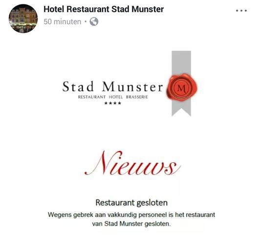 Het bericht dat het restaurant/hotel op Facebook plaatste.