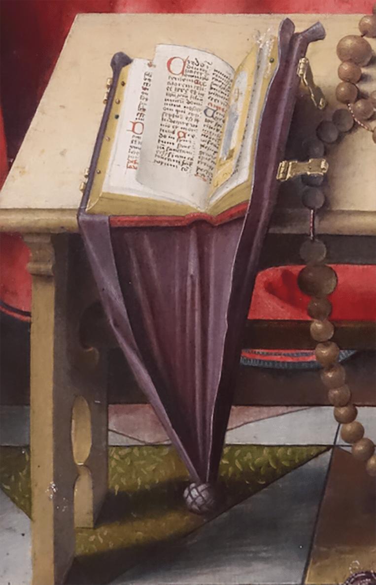 Buidelboek uit De Dood van Maria (1520) van Joos van Cleve Beeld .