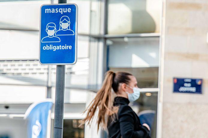 Mondmaskerplicht in centrum van Luik.