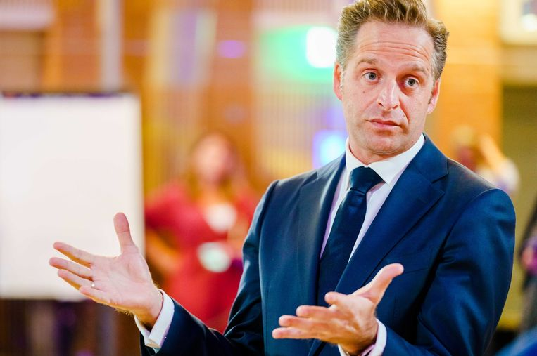 Minister Hugo de Jonge van Volksgezondheid, Welzijn en Sport zaterdag tijdens de appathon voor de corona-apps.  Beeld ANP