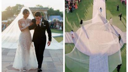 Met een sleep van 23 meter: zo adembenemend zag het sprookjeshuwelijk van Nick Jonas en Priyanka Chopra eruit