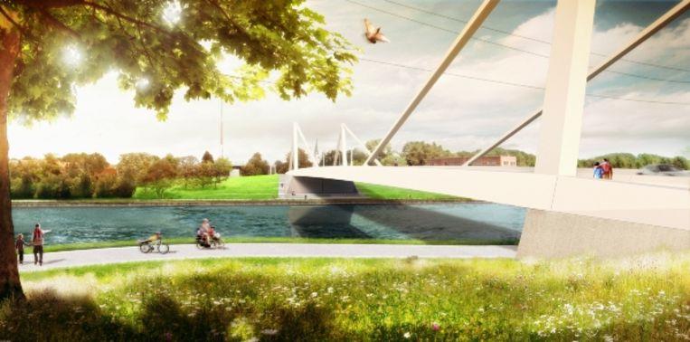 Een simulatiebeeld van de nieuwe brug.