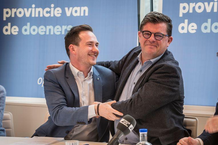Bart Tommelein (rechts) wil nog niet reageren op de kandidatuur van Francesco Vanderjeugd.