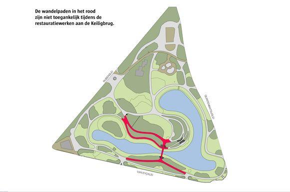 Een plannetje met de wandelpaden die afgesloten worden tijdens de restauratie van de Keiligbrug.