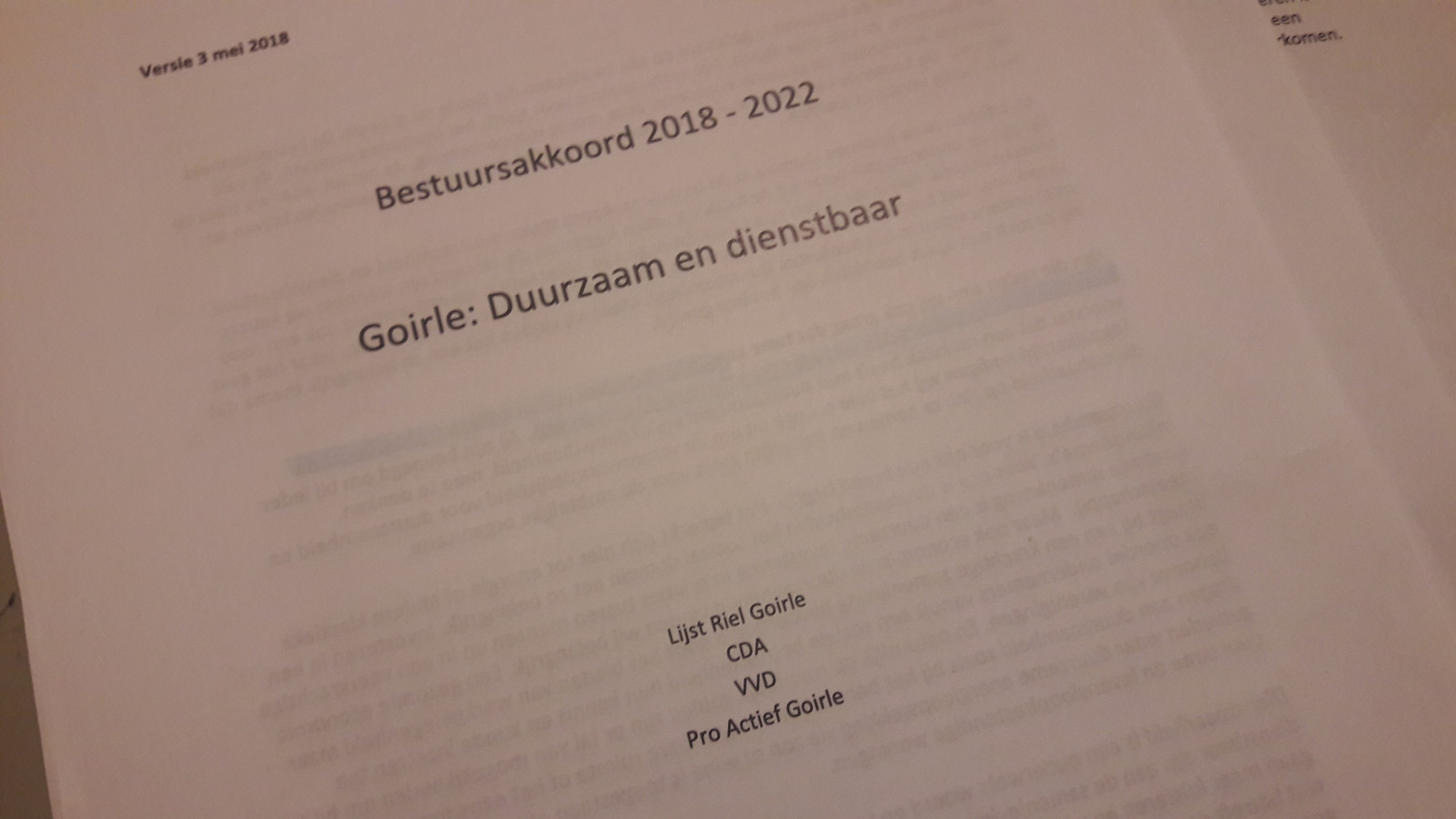 Het bestuursakkoord van Goirle bestaat uit 15 pagina's.