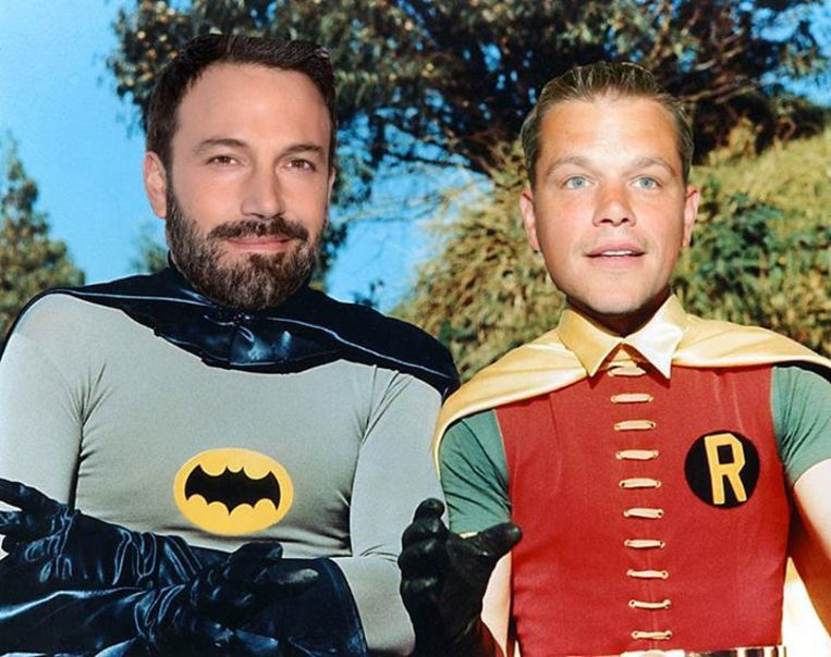 Ben Affleck en Matt Damon als Batman en Robin Beeld Twitter