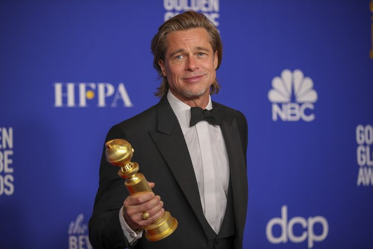 Brad Pitt met zijn Golden Globe.