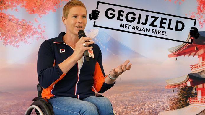 Esther Vergeer tijdens een persbijeenkomst voor Tokio 2021