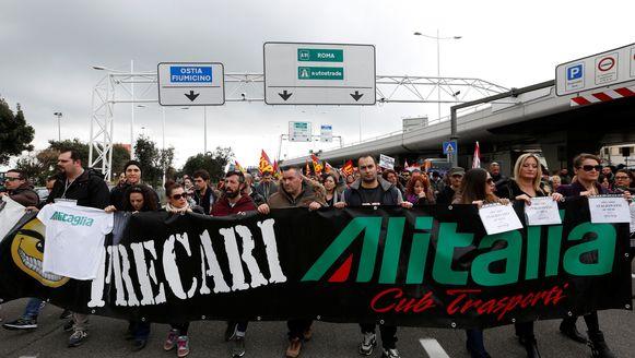 Werknemers van Alitalia protesteerden vorige maand in Rome