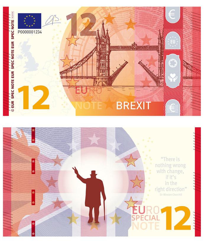 De voor- en achterzijde van de Brexiteuro