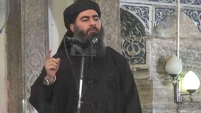 IS-leider Abu Bakr al-Baghdadi geeft een toespraak. Beeld epa