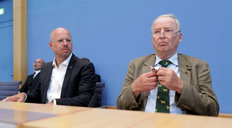 Andreas Kalbitz (links) en Alexander Gauland. Beeld AP