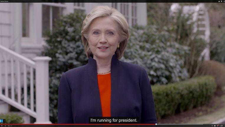 Still uit het filmpje waarin Clinton haar kandidatuur aankondigt. Beeld AP