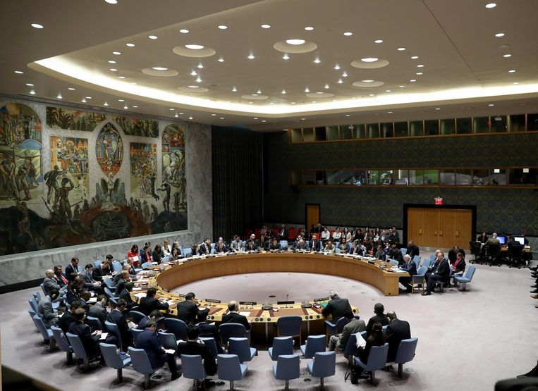 De VN Veiligheidsraad tijdens een spoedvergadering. Archieffoto.