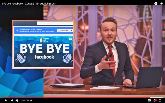 Arjen Lubach roept in zijn programma dat het tijd is om te stoppen met Facebook en verwijdert zijn account woensdag 11 mei om 20:00