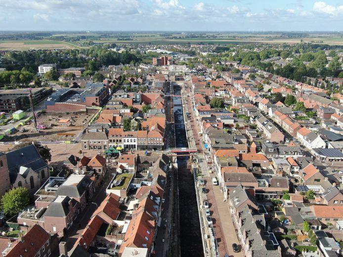 Een ander bovenaanzicht van het Zevenbergse haventracé.