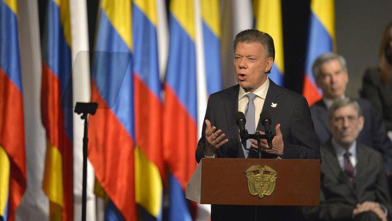 De Colombiaanse President Juan Manuel Santos op 24 november 2016 tijdens de ceremonie ter ere van het nieuwe vredesverdrag met guerrillabeweging FARC. Beeld afp