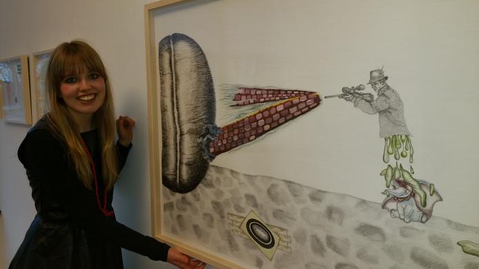 Martha Zink (26) bij de tentoonstelling bij de Jan van Hoof galerie in Den Bosch.