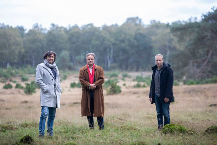 Stemacteur Sander de Heer, schrijver Ruud van Megen en muzikant Edgar van Hasselt (v.l.n.r.)