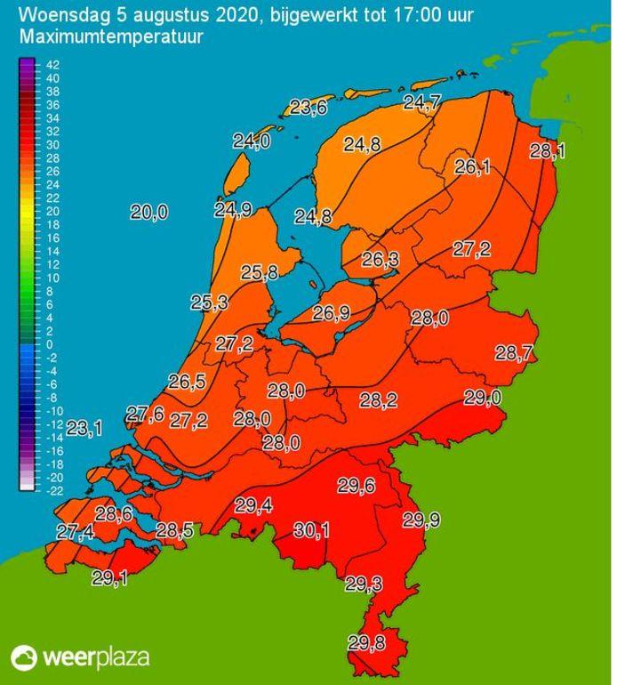 De temperaturen in Nederland om 17.00 uur, met 30,1 graden in Eindhoven.