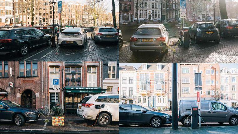 Congestie bij laadpalen voor elektrische en hybride auto's in Amsterdam. Beeld null