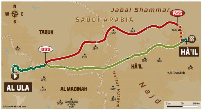 Routekaart Dakar Rally etappe 5