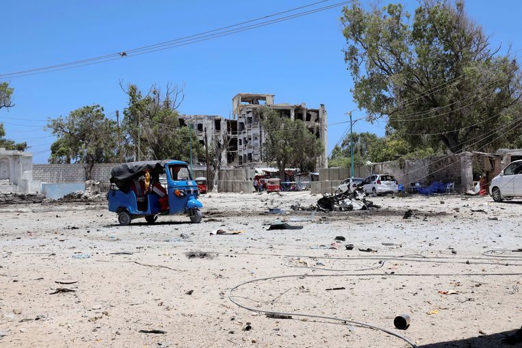 Al-Shabaab pleegt regelmatig aanslagen, hier in de Somalische hoofdstad Mogadishu op 23 maart dit jaar.
