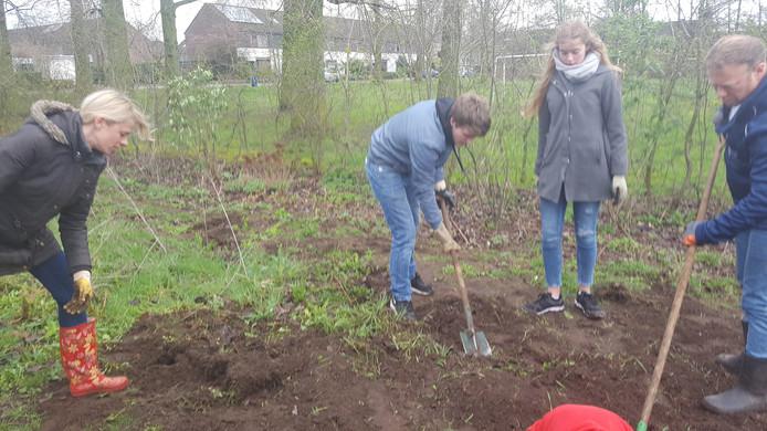 Vrijwilligers zijn druk bezig met onderhoud van het Kwebbenpark tijdens NL Doet 2019 in Vught.