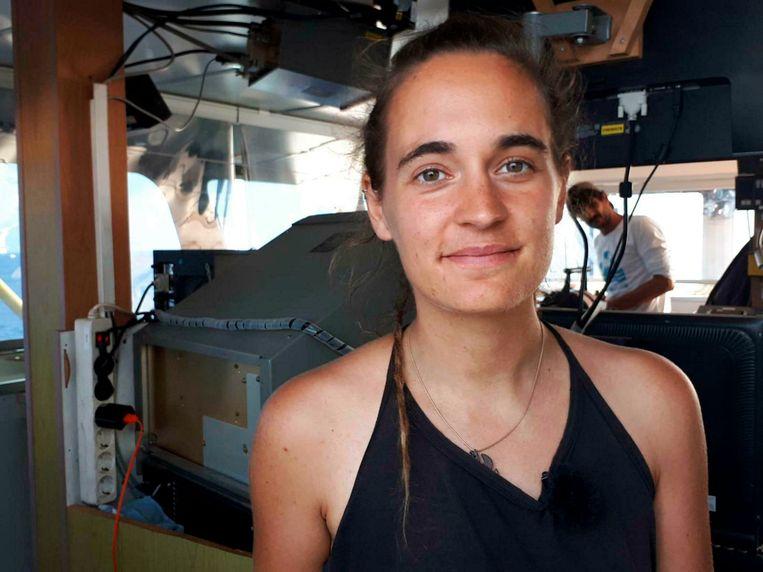 Carola Rackete op de Sea Watch. Beeld AP