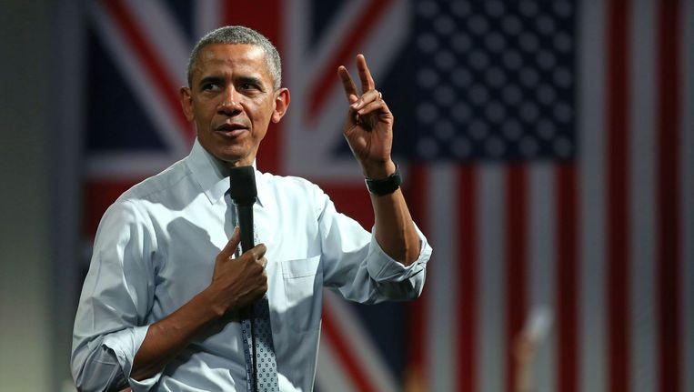Obama tijdens zijn bezoek aan Londen, afgelopen weekend. Beeld AFP