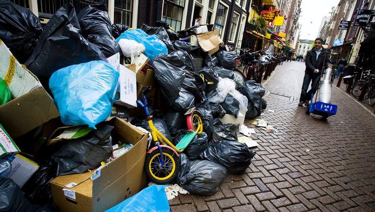 In 2010 werd er ook gestaakt door de vuilnismannen. Toen hoopte het vuilnis in de hele stad op. Beeld anp