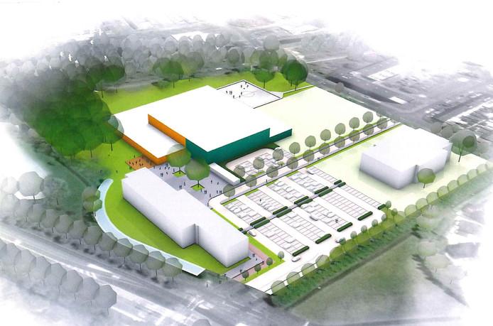 Een artist impression van hoe het terrein van Curio er in 2022 uit zou kunnen zien, met linksachter de topsporthal.