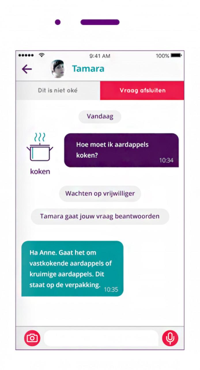 Een voorbeeld van de app.